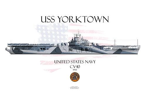 USS Yorktown CV-10 WL t-shir