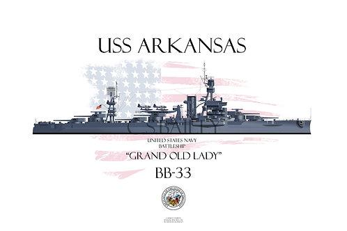 USS Arkansas BB-33 MS21 WL T-shirt