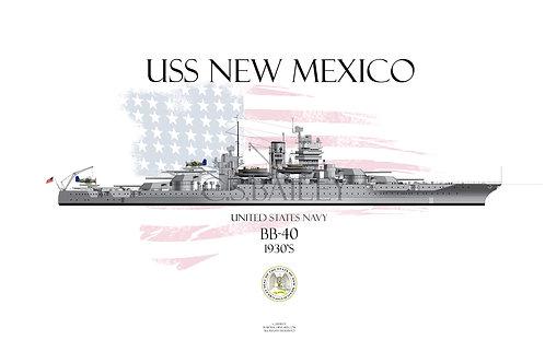 USS New Mexico BB-40  1930's T-shirt
