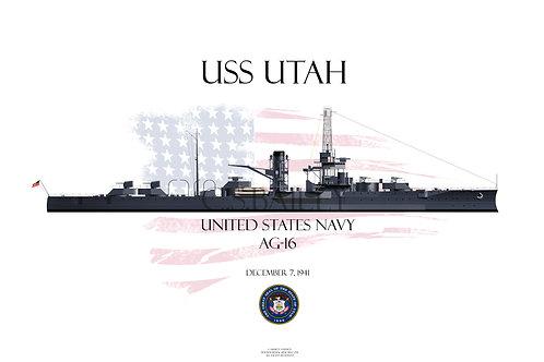 USS Utah AG-16 WL T-shirt
