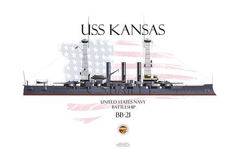 USS Kansas BB-21 1918 WL T-shirt