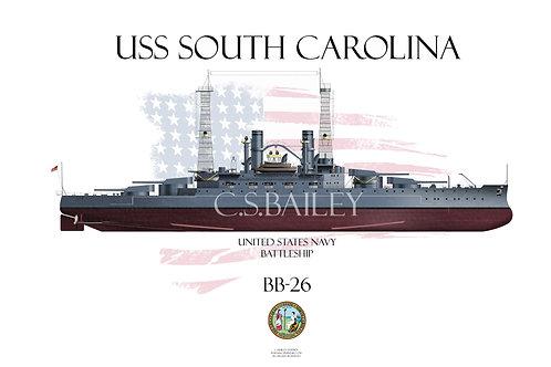USS South Carolina  BB-26 FH t-shirt