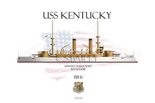 USS Kentucky BB-6 WL T-shirt