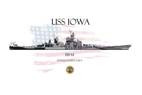 USS Iowa BB-61 WL T-shirt