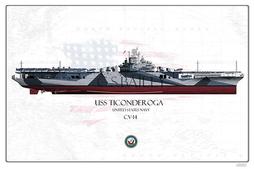 USS Ticonderoga CV-14 FH Print