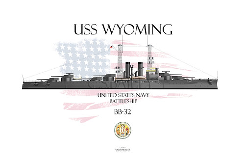 USS Wyoming BB-32 WL T-shir
