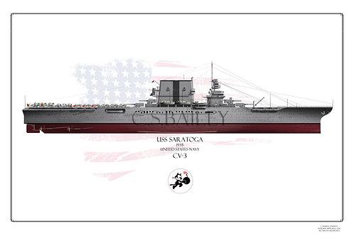 USS Saratoga CV-3 FH 1935 Print