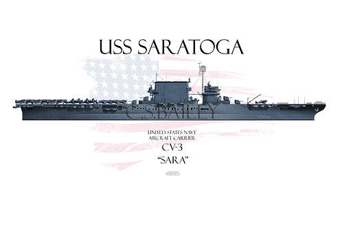 USS Saratoga CV-3 WL MS-21 t-shirt