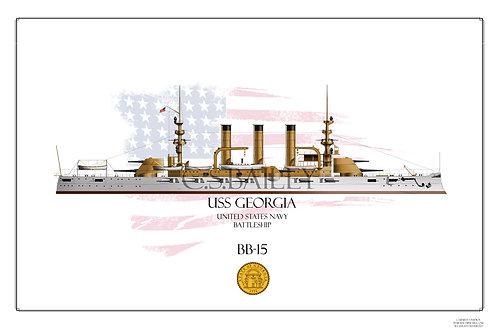 USS Georgia BB-15 WL Print