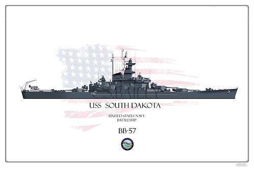 USS South Dakota  WL BB-57 Print