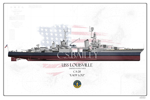 USS Louisville CA-28 MS-22 FH Print