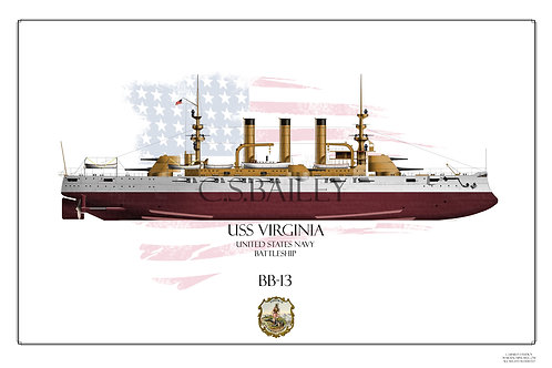 USS Virginia BB-13 FH Print