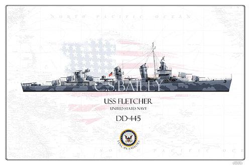 USS Fletcher DD-445 WL Print
