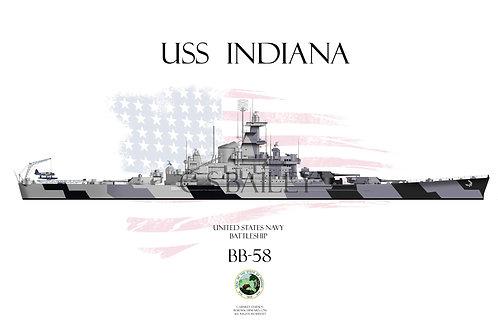USS Indiana BB-58 WL t/s