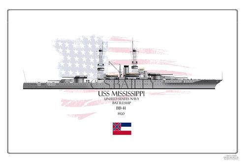 USS Mississippi  1920's WL print