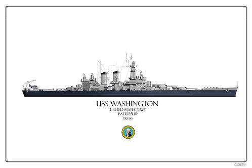 USS Washington BB-56 WL Print