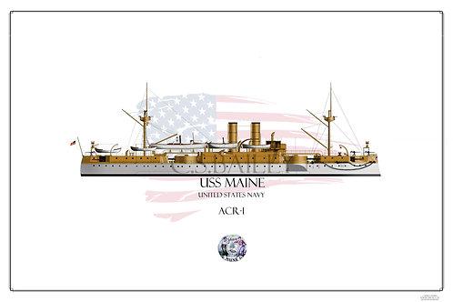 USS Maine WL print