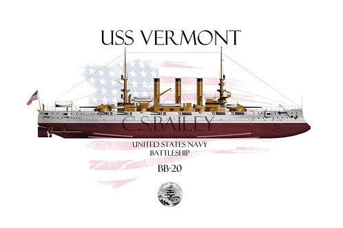 USS Vermont BB-20 FH T-shirt