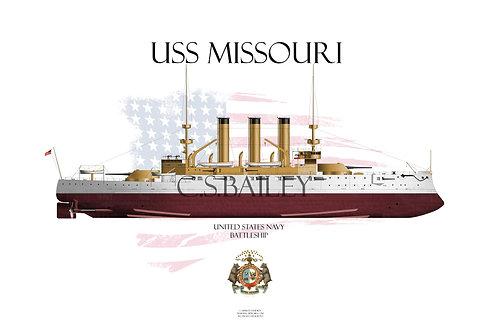 USS Missouri BB-11 FH T-shirt