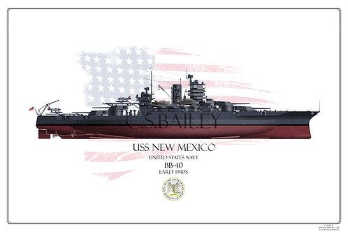 USS New Mexico 1941 FH print