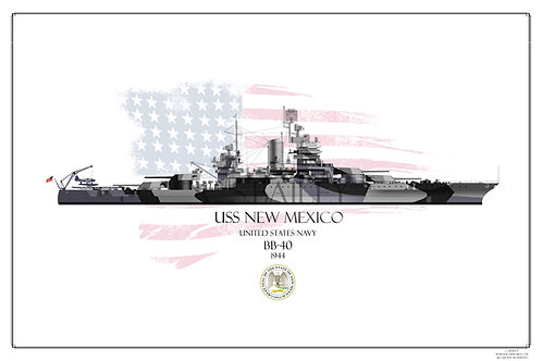 USS New Mexico 1944 WL print