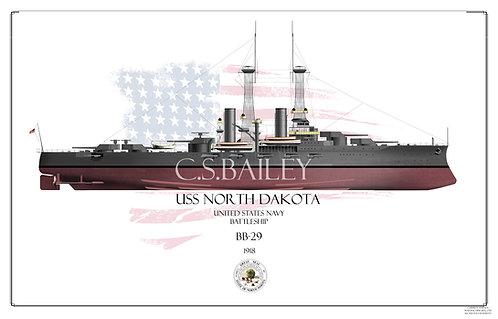 USS North Dakota BB-29 FH Print