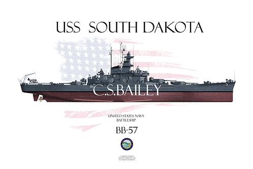 USS South Dakota BB-57 FH t/s