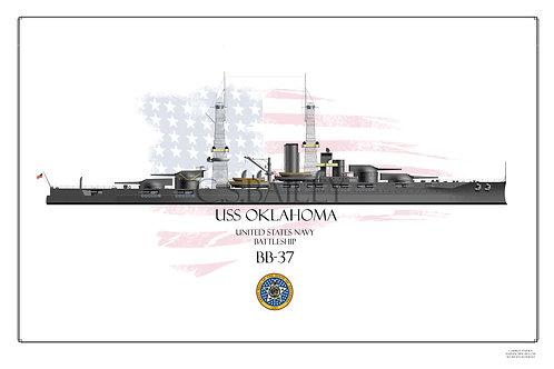 USS Oklahoma BB-37 1918 Print