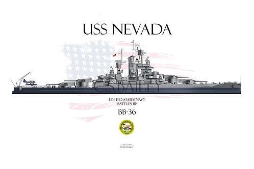 USS Nevada BB-36 MS-22 1944