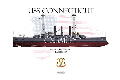 USS Connecticut BB-18 1918 WL Print