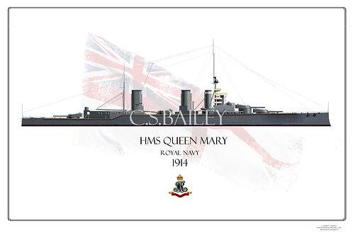 HMS Queen Mary 1914 WL Print