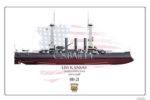 USS Kansas BB-21 FH 1918 Print