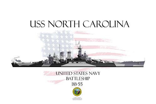 USS North Carolina BB-55 WL T-shirt