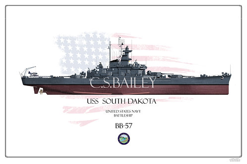 USS South Dakota FH BB-57 Print