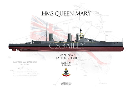 HMS Queen Mary Jutland FH t-shirt