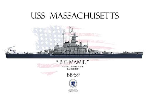 USS Massachusetts BB-59 WL t/s