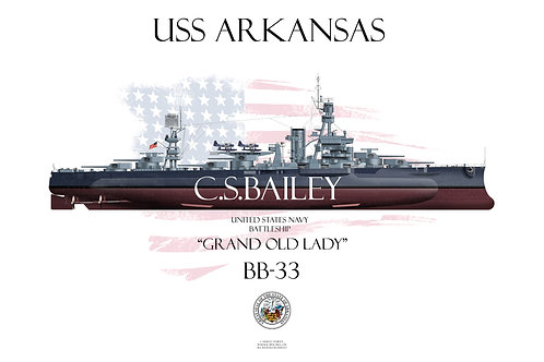 USS Arkansas BB-33 MS22 FH T-shirt