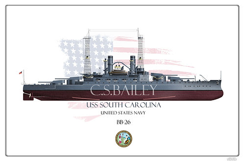 USS South Carolina BB-26 FH Print