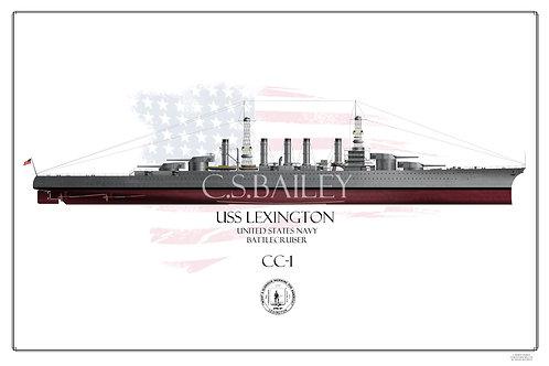 USS Lexington CC-1 1918 FH Print