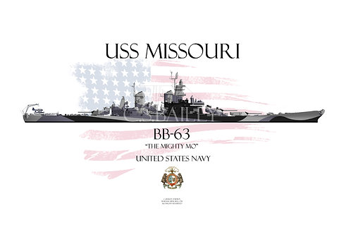USS Missouri BB-63 Dazzle T-shirt