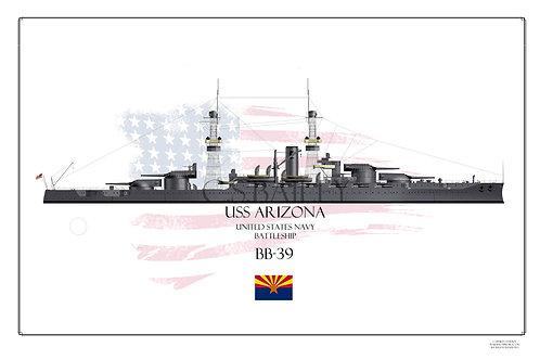 USS Arizona BB-39 1918 Print