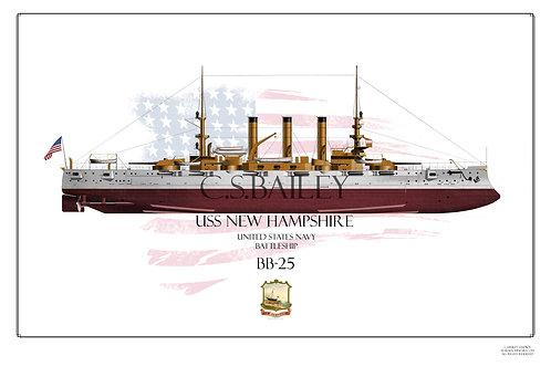USS New Hampshire BB-25 FH print