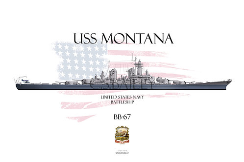 USS Montana BB-67 Early MS-22 T-shirt