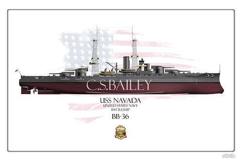 USS Nevada 1920's FH Print