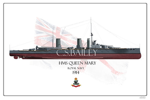 HMS Queen Mary 1914  FH Print