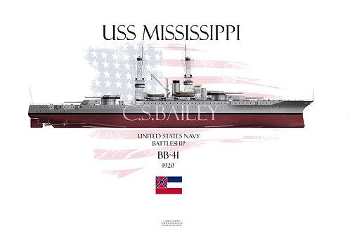 USS Mississippi BB-41FH T-shirt