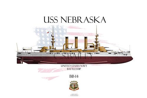 USS Nebraska BB-14 FH T-shirt