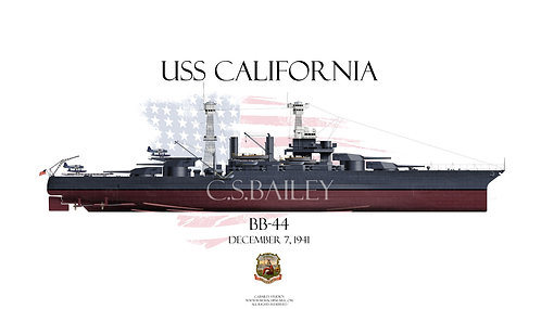 USS California BB-44 1941FH T-shirt