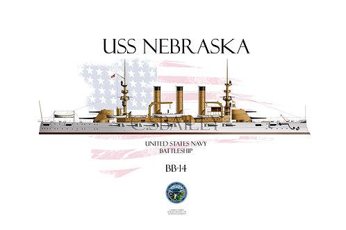 USS Nebraska BB-14 WL T-shirt