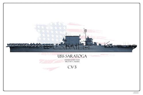 USS Saratoga CV-3 WL Ms 21 1944 Print
